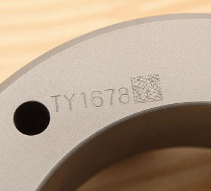 2D code marking on hardened steel (HRC62).