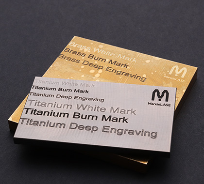 Different types of markings on Titanium, Copper, Gold, & Brass metals.